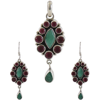 Silverwala 925 Sterling Silver Ruby and Emerald Stone Pendant Set for Women and Girls