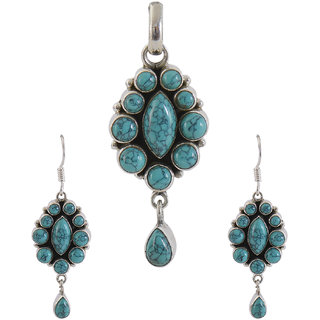Silverwala 925 Sterling Silver Turquoise Stone Pendant Set for Women and Girls