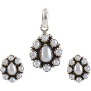 Silverwala 925 Sterling Silver Pearl Stone Pendant Set for Women and Girls