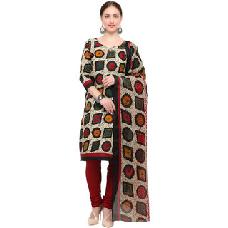 Swaron Women's Beige and Maroon Colored Cotton Printed Unstitched Dress Material