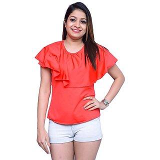 Nice Queen Casual Half Sleeve Solid Women's Red Top