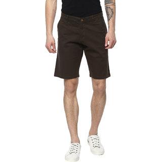 Urbano Fashion Men's Solid Dark Green Cotton Chino Shorts (Size : 28)