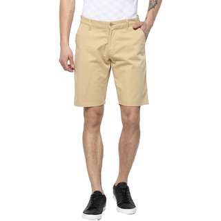 Urbano Fashion Men's Solid Beige Cotton Chino Shorts