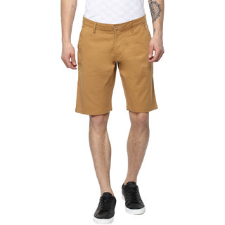 Urbano Fashion Men's Solid Khaki Cotton Chino Shorts