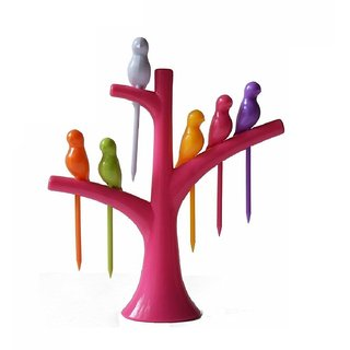 Birdie Plastic Fruit Fork Set with Stand 6-Pieces Multicolour
