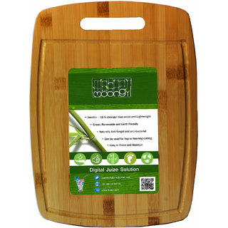 Moongil Cutting and Chopping Bamboo Wood board best for vegetable and meat cutting - Square Groove Handle