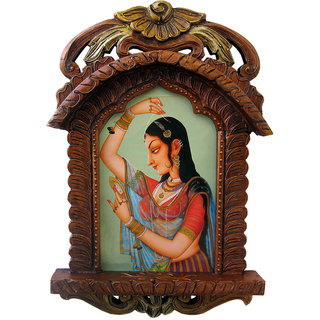 shoppingtara Jaipuri Lady Bani Thani Wooden Jharokha Gift painting Jharokha