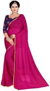 Febo Fashion Dark Pink Nazneen Foil Print Sari With Blouse(6GM)