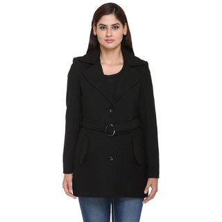 Trufit Black Wool Blend Long Coats For Women