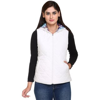 Trufit Multicolor Nylon Quilted Jacket For Women