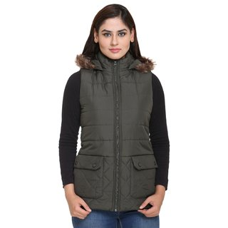 Trufit Green Nylon Quilted Jacket For Women