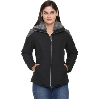 Trufit Black Cotton Quilted Jacket For Women