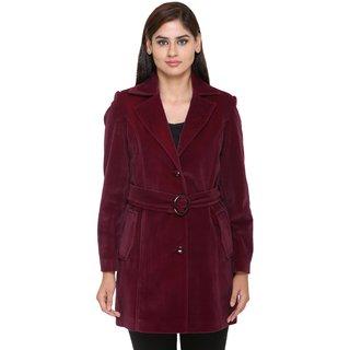 Trufit Maroon Velvet Long Coats For Women