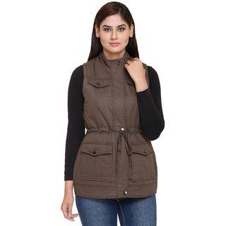 Trufit Brown Cotton Parka Jacket For Women