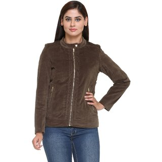 Trufit Olive Corduroy Zippered Jackets For Women