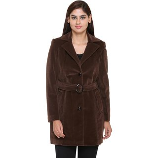 Trufit Brown Velvet Long Coats For Women