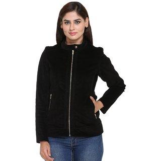 Trufit Black Corduroy Zippered Jackets For Women