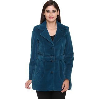 Trufit Blue Velvet Long Coats For Women