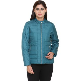 Trufit Blue Nylon Quilted Jacket For Women