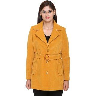 Trufit Yellow Velvet Long Coats For Women