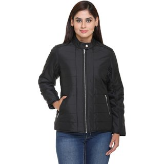 Trufit Black Nylon Quilted Jacket For Women