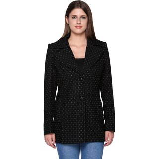 Trufit Black Wool Blend Long Coats For Women