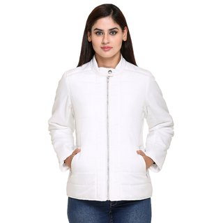 Trufit White Nylon Quilted Jacket For Women