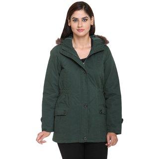 Trufit Green Cotton Parka Jacket For Women