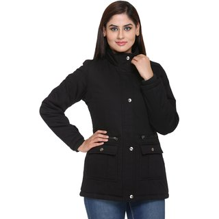 Trufit Black Cotton Parka Jacket For Women