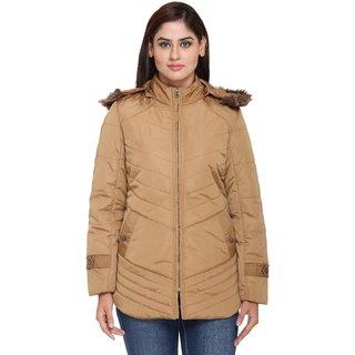 Trufit Brown Nylon Parka Jacket For Women