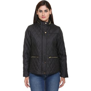 Trufit Black Nylon Bomber Jacket For Women