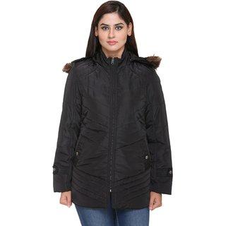 Trufit Black Nylon Parka Jacket For Women