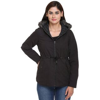 Trufit Black Cotton Reversible Jackets For Women