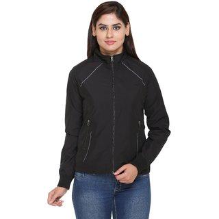 Trufit Black Nylon Reversible Jackets For Women