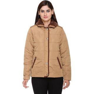 Trufit Brown Nylon Bomber Jacket For Women