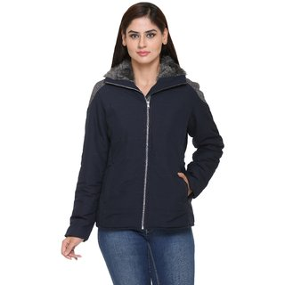 Trufit Navy Cotton Quilted Jacket For Women