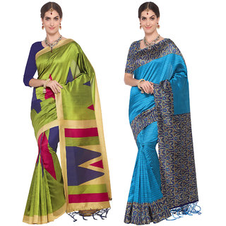 Meia Sea Green and Blue Art Silk Printed Saree With Blouse (Combo of 2)