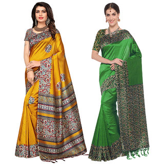 Meia Yellow and Green Art Silk Printed Saree With Blouse (Combo of 2)