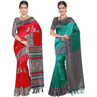 Swaron Red and Green Colored Printed Poly Silk Casual Wear Saree Combo of 2