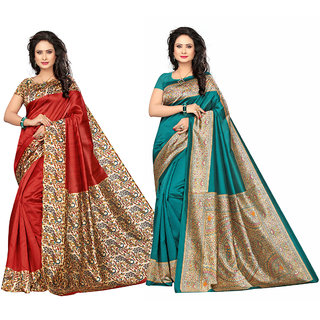 Meia Red and Blue Art Silk Printed Saree With Blouse (Combo of 2)