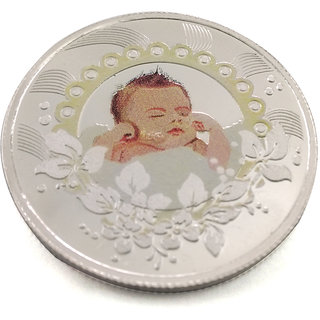 Taraash 999 Silver Premium Quality Adorable New Born Baby 10 Gm Coin CF5R5-10W
