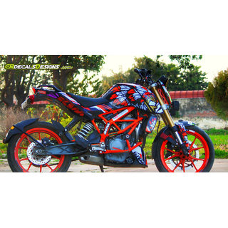 CR Decals KTM Duke 200/390 Redindian Edition Sticker Kit (Duke- 200/390) for Bike - 10 inches(25.4 cm)