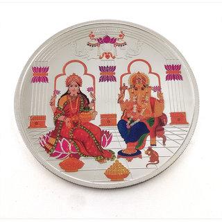 Taraash 999 Silver Multicolor Maa Lakshmi  Ganesh Ji 50 Gm Premium Coin With Gift Packaging CF2R1-50
