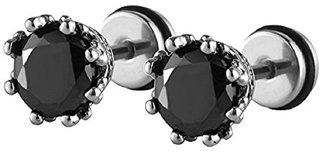 10b5502f9c579 316L Steel Crown Stud Black Cubic Zirconia CZ Screw Back Stud Earrings for  Men/Women, 2pcs