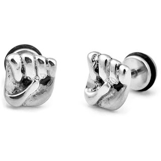 33c51472e Buy Stainless Steel Folded Hand Stud Silver Color Unisex Earrings (Pair Of)  Online - Get 64% Off