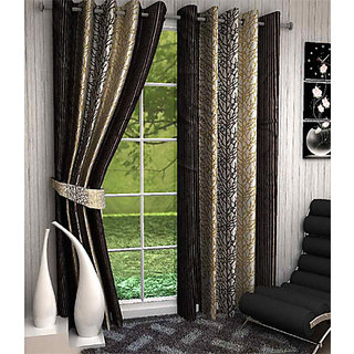 India Furnish New Collection  Beautiful New Damask  Stripes Design Wine Color Eyelet Polyester Curtains Door Length (Set of 4) 84x48