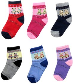 Neska Moda 6 Pairs Multicolor Cotton Kids Teddy Socks Age Group 3 To 7 Years SK2