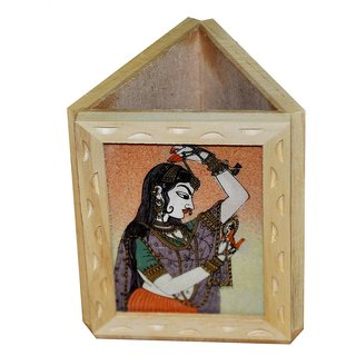 shoppingtara JaipurRaga Incredible Gemstone Lady Painting Wooden Pen Stand Item