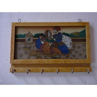 shoppingtara Wooden Gemstone Painting Key Stand 8x6 Inch
