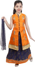 KBKIDSWEAR Girl's Long Kurta Lehenga with Dupatta Set